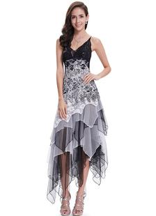 Vestido de cóctel 2020 gris V cuello lentejuelas, abalorios ocasión corto vestido encaje flores espaguetis correa tul niveles Irregular Vestido de fiesta