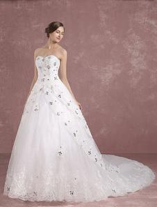 Принцесса свадебное платье цвета слоновой кости кружева свадебное платье возлюбленной регули спинки бисером Аппликация многоуровневого свадебное платье с Кафедральный шлейф