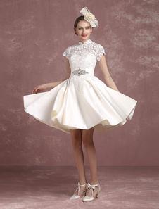 Потрясающее короткое свадебное платье Milanoo с китайским воротничком, с вышивкой бисером Milanoo