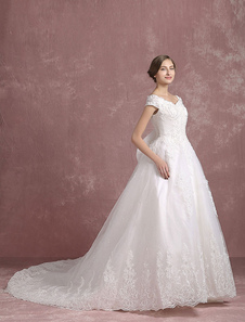 Vestido de noiva Princesa  marfim V pescoço fora do ombro Beading rendas Applique laço nupcial com Catedral