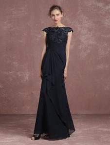 Кружева вечернее платье A линии мать невесты платье темно флота Бато короткий рукав Длина пола партии платье Milanoo
