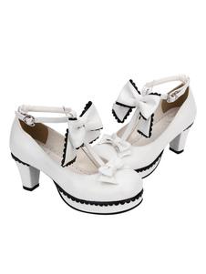 Lolita doce tênis dedo do pé redondo branco Cone calcanhar T cinta Lolita
