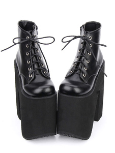 Lolita preto botas plataforma de salto Chunky redonda Toe rendas até botas curtas de Lolita