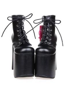 Lolita preto botinhas grossas salto plataforma redonda Toe rendas até botas curtas de Lolita