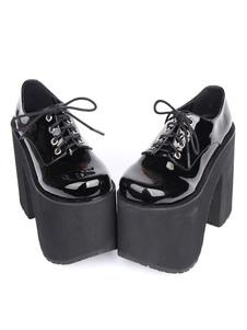 Lolita preto botas grossas salto plataforma rendas até Lolita calçados