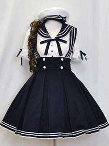Sailor Lolita roupas camisa azul de manga curta com saia plissada Jumper