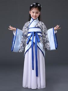Disfraz de niños Carnaval Halloween China Disfraz Chicas Azul Antigua Hanfu 2020 Disfraz Halloween Disfraz Carnaval