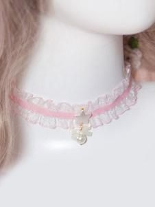 Collana girocollo in pizzo rosa con ciondolo dolce Lolita