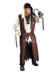 Costume Carnevale Pirati dei Caraibi Costume marrone capitano Jack Costume vestito Carnevale uomo