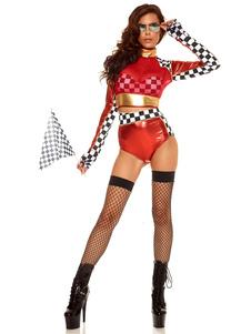 Сексуальный гонки автомобилей водитель костюм Хэллоуин женщин красный Checker шорты с топ культур Хэллоуин