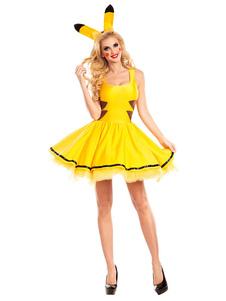 Disfraz Carnaval Traje sexy de Pikachu 2020 Traje amarillo para mujeres con tocados Disfraz de Halloween Carnaval