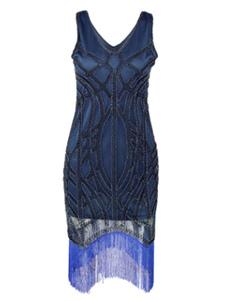 Costume Carnevale Vestiti Anni 20 per donne Blu Vestito Flapper mini/corte Costumi Retro in tessuto con lustrini halloween Costumi Costumi