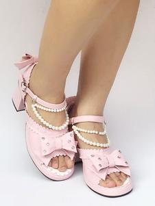 Zapatos de lolita de PU de puntera abierta Color liso rosa