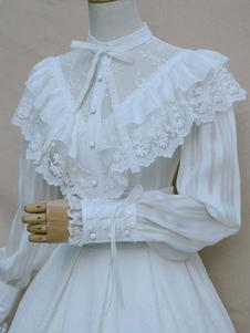Сладкая Лолита блузка белая Винтаж Neverland кружева рябить рубашка Лолита