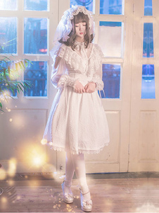 Lolita vestido branco OP Neverland Lolita uma peça Saia  Baixa Somente