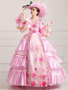 Disfraz Carnaval Traje Vintage Halloween real victoriana desfile rosa Vestido de las mujeres Halloween Carnaval