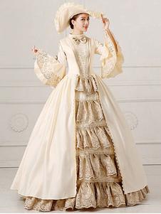 Disfraz Carnaval Traje de las mujeres traje Vintage Victorian bola vestido Champagne desfile vestido Retro Halloween Carnaval