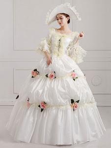 Disfraz Carnaval Traje Vintage victoriano blanco desfile Vestido de las mujeres de flores Halloween Carnaval