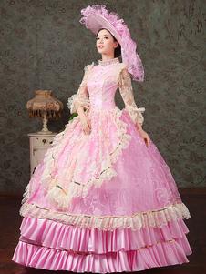 中世 ドレス プラスサイズ 女性用 プリンセス 貴族ドレス ピンク 長袖 ロココ調 祝日 レトロ ヨーロッパ 宮廷風 中世 ドレス・貴族ドレス