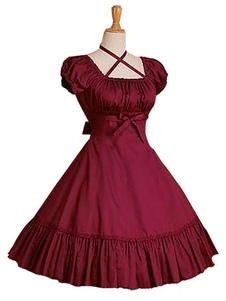 Vestido de Lolita de Popelina con escote cuadrado con manga corta con volante fruncido