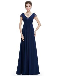 Vestido para la madre de los novios azul con cuello en V con manga corta con pliegues de línea A hasta el suelo