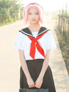 Costume Carnevale Naruto Haruno Sakura Cosplay Costume scuola ragazza uniforme