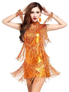 زي الرقص اللاتينية زي المرأة البرتقالي مطرزة اللباس الزي