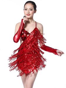 الرقص اللاتينية زي المرأة الأحمر مطرزة زلة اللباس مع القفازات