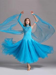 قاعة الرقص اللباس الضوء السماء الزرقاء تول واحدة الأكمام قاعة الرقص زي