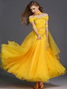 Dança de salão vestido amarelo de tule plissado fora o traje de dança de salão do ombro
