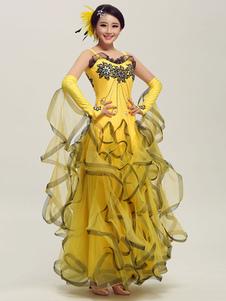 Dança de salão Narciso tule plissado traje sem mangas de dança de salão