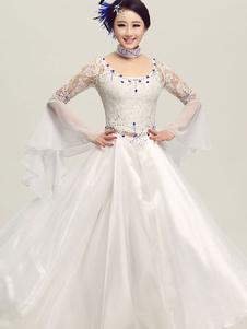 Dança de salão vestido tule branco ilusão Bell Long manga traje de dança de salão