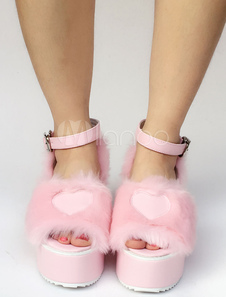 Zapatos de lolita de PU Color liso rosa estilo street wear de puntera abierta