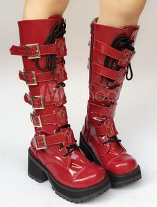 Stivali Lolita rossi PU rotondo tacco largo zeppa 8cm