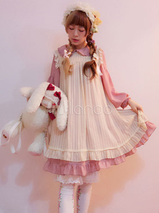 Sweet Lolita OP Dress Infanta Antique Doll Vestido de gasa con volantes de una pieza (sin delantal)
