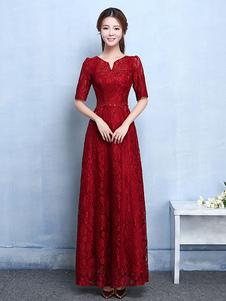 Кружевное платье матери Бургундское вечернее платье с вырезом декольте отбортовывает половину рукава Длинные свадебные платья для голеностопного сустава