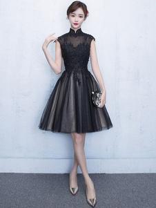 Черном платье кружева бисером Тюль Короткие Пром платье стоять воротник рукавов платье партии линии