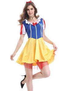 Белый снег Сексуальные костюмы синий и желтый костюм принцесса сказка Хэллоуин