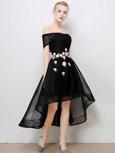 Vestidos de fiesta cortos Traje de Baile con escote de hombros caídos De banda de encaje de línea A con manga corta con flor