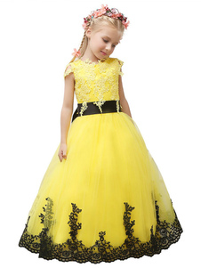 Desfile vestido amarillo Florista tul encaje apliques arco Sash Maxi Junior Dama de honor vestido del niño