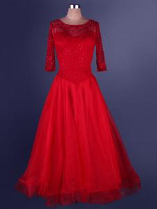 Laço de vestido de dança de salão de organza plissada de retalhos Semi Sheer um traje de dança de salão linha