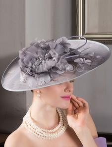 المرأة ريترو fascinator الكتان رمادي الزهور ديكور غطاء الرأس الزعنفة هالوين