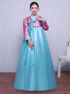 هالوين الكورية زي الحرير المرأة القوس عقدة مطوي ماكسي ألف خط اللباس التقليدي الهانبوك زي مجموعة