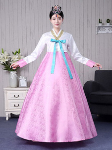 هالوين الكورية زي المرأة لون كتلة ماكسي ألف خط اللباس التقليدي المحكمة الهانبوك زي مجموعة