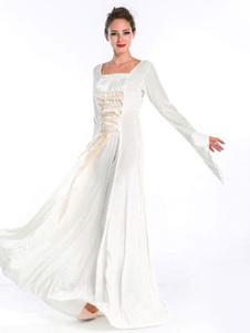 Женщин в старинный костюм Хэллоуин возрождения средневековых шифон Белый длинное платье Хэллоуин