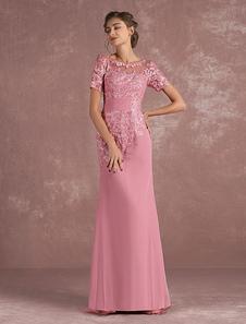 Vestido para la madre de los novios Cameo Pink con escote redondo con manga corta con pliegues de silueta sirena Con cola vestidos de madrina de boda