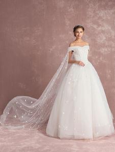 ثوب الكرة ثوب الزفاف قبالة الكتف فستان الزفاف قطار اتو الأبيض تول الرباط زهرة زين الطابق طول ثوب الزفاف