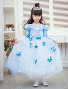 Fantasia de criança de fibra poliéster para crianças Cosplay de tule Desenho em borboleta Azul de Àgua  Halloween