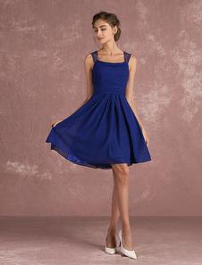 Vestido de cóctel de chifón de azul francia con cuello en U sin mangas con pliegues