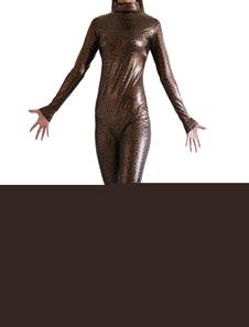 Costume Carnevale Abbigliamento metallizzato marrone scuro zentai fibra di poliestere gomma metallizzata per donna
